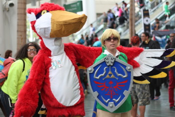 Link from the Legend of Zelda and a big red bird.