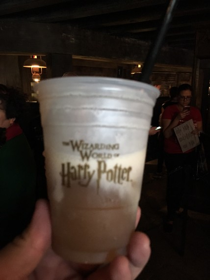 Butter beer (the frozen version) was excellent. Would've been even better with a shot of vodka (butter beer is non-alcoholic)