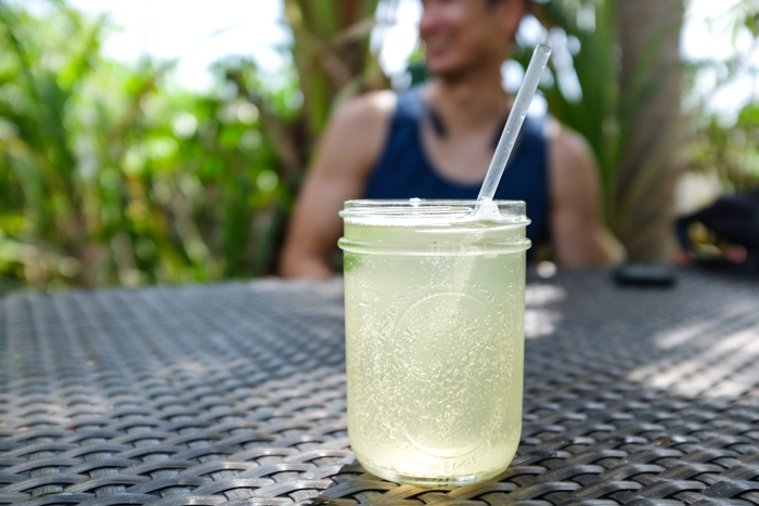 The kombucha is brewed in house and comes in a few varieties including lilikoi (pictured), ginger and mango.