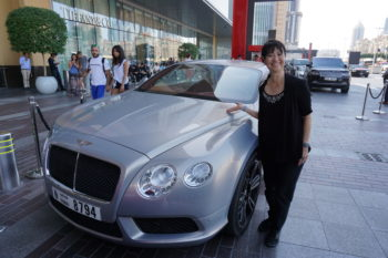 Val Ogi outside Dubai Mall, where our Mercedes got turned down for valet service.