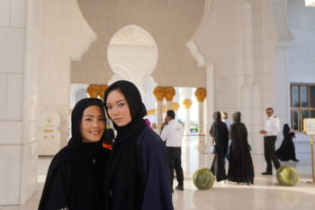 Jolie and Quinn Remington at the Grand Mosque.
