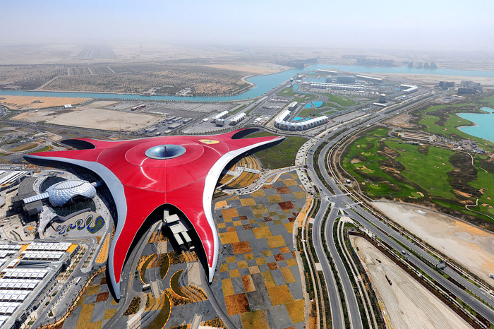 Aerial view of Ferrari World Abu Dhabi courtesy of Aziz J.Hayat