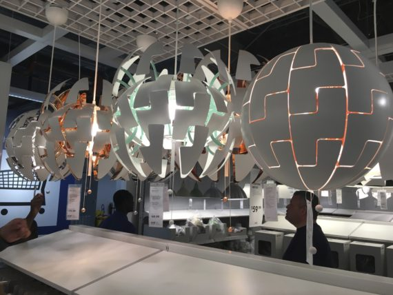 I fell in love with these collapsible hanging lights because they reminded me of the Death Star.