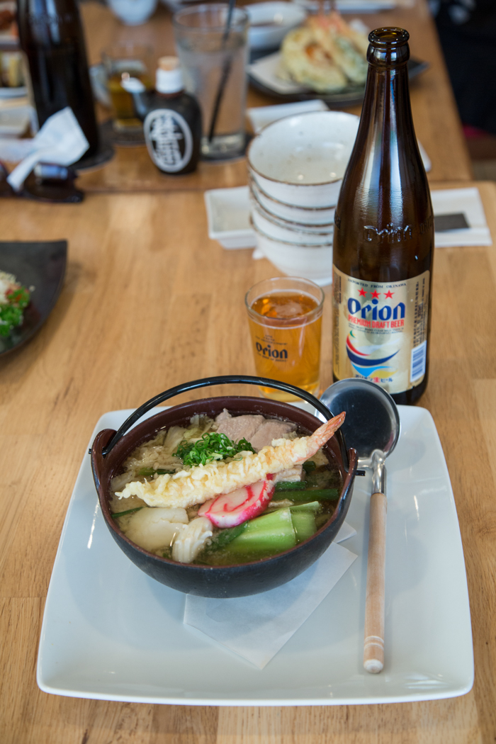 Perfect for a rainy day, the Kei nabeyaki ($14) is a udon hotpot with seafood, veggies, pork and chicken. Be sure to get it with an ice cold Orion or Echigo beer.