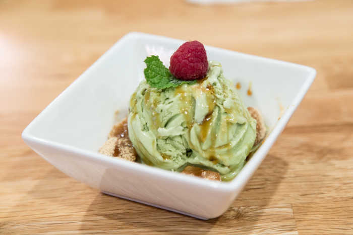 If you have a sweet tooth, order the matcha ice cream with kinako ($5). A heaping scoop of green tea ice cream comes dusted with mochi rolled in roasted soybean powder.