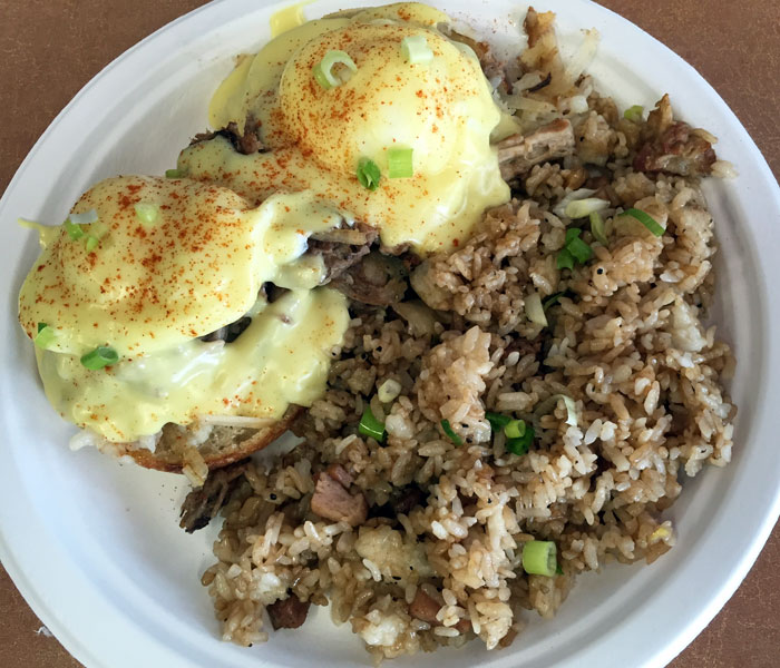 The Korean braised short rib eggs benedict ($11.95) may reign as the most popular of the eggs benedicts, but the kalua pork hash is a close contender.