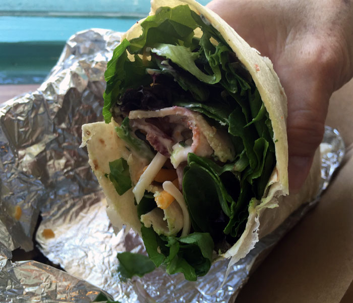 This club-sandwich-meets-tortilla-wrap comprised local greens, tomatoes, cheese, bacon and ranch. The fresh greens and ranch made the wrap refreshing, while the generous chunks of tomatoes, bacon and thinly sliced turkey gave it substance.