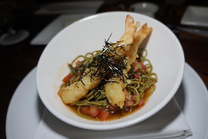 Green tea soba noodles with shrimp tempura, $10.