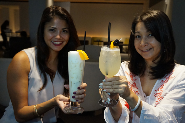 Kira Chong Tim and Yumi Ozaki with two new cocktails at The Study.