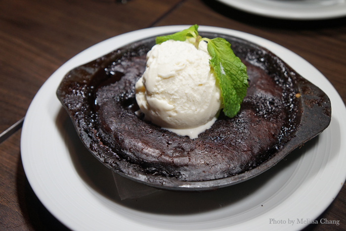 Warm chocolate cobbler, $8.
