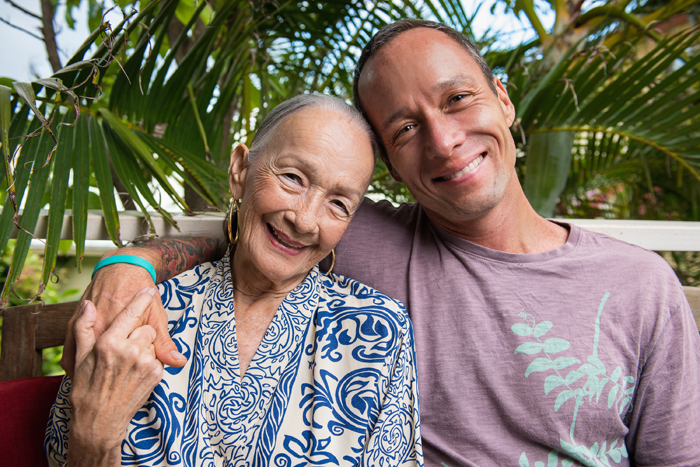Chef Ed Kenney with his mother, Beverly Noa.