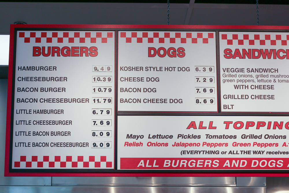 The burgers and hot dogs section of the menu.