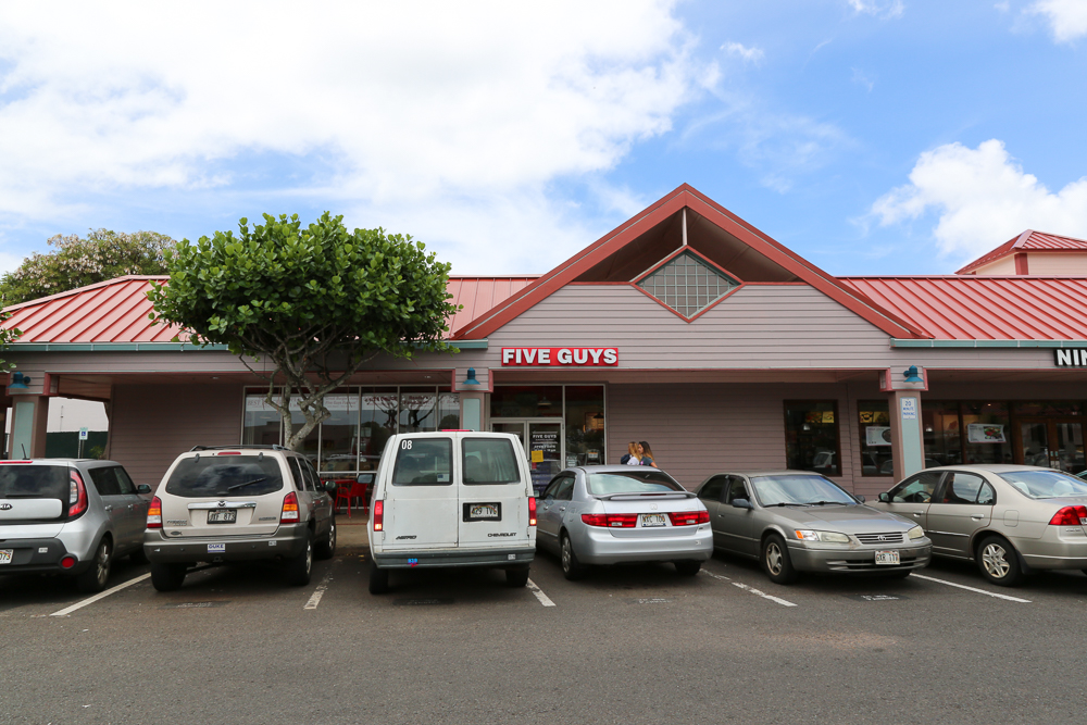 Five Guys is located in Town Center of Mililani next to Ninja Sushi and the theaters where Radio Shack used to be.
