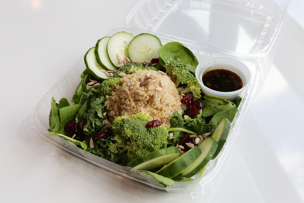 If you're looking for a healthy and substantial meal, the create your own salad option offers many delicious options. For $10.50 you can choose between spinach, kale and romaine, then add fresh veggies, quinoa, fruits and beans and then top it all off with nuts, seeds and either a citrus coconut vinaigrette or balsamic dressing.