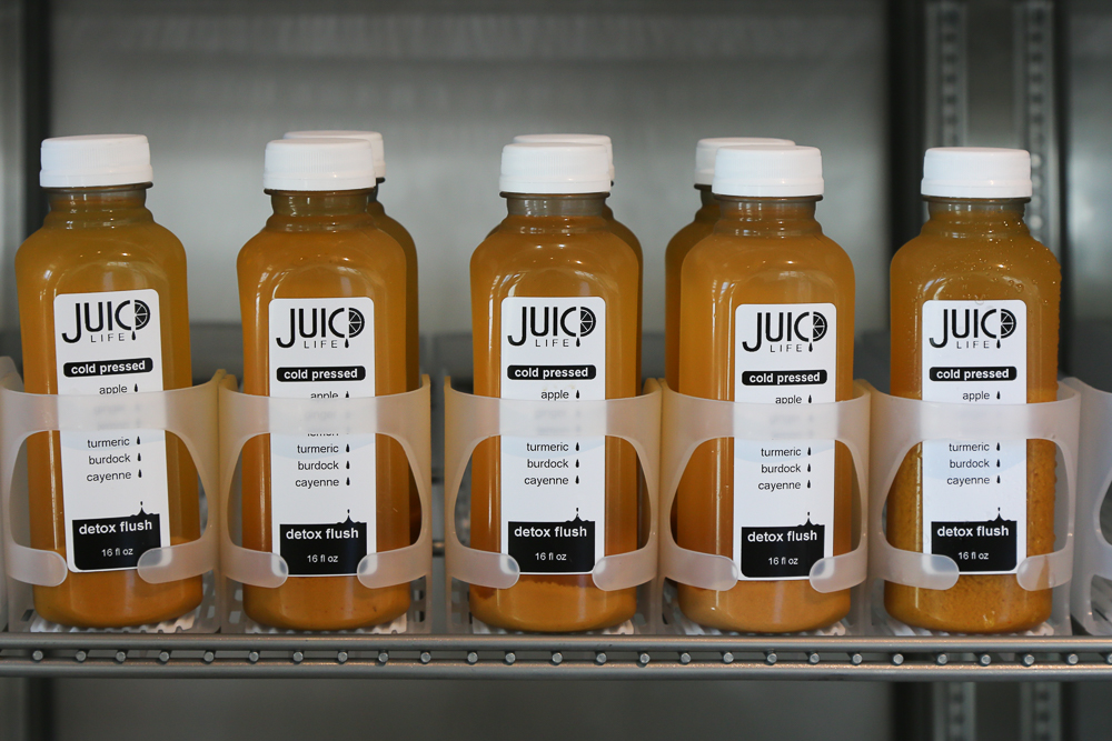 A 16 oz. cold-pressed juice is $9. Two to four pounds of fruit goes into making each bottle of juice.