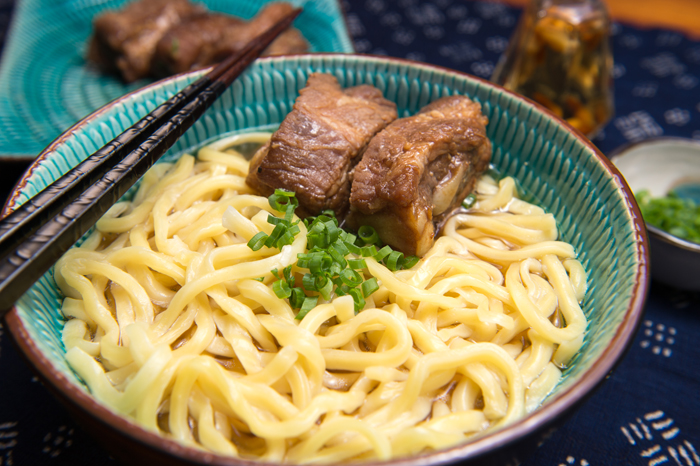 Soki soba, a dish that Ed learned about in Okinawa with Sun Noodle's Hisae Uki.