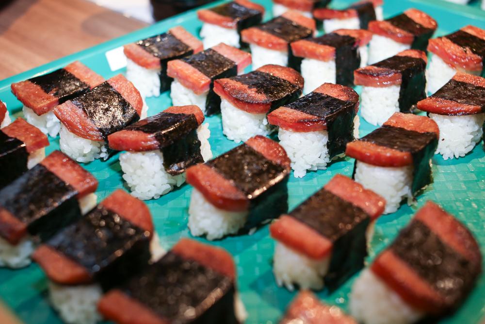 Spam musubi at the popular Musubi Cafe Iyasume.