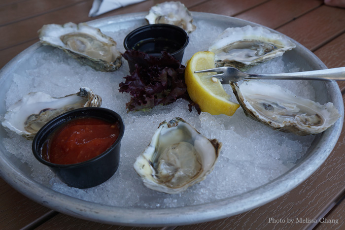 Six oysters, $17.