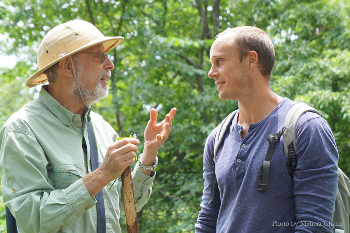 """""""Wildman"""" Steve Brill dropping foraging knowledge on Mike Lofaro in Central Park."""