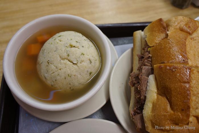 Matzo ball soup, $