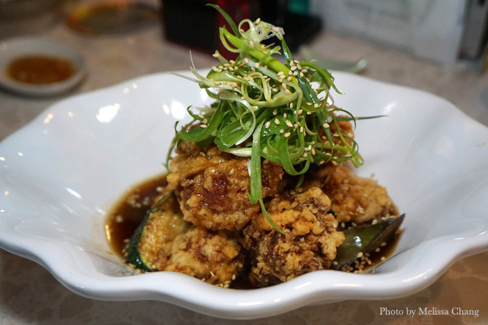 Bozu original fried chicken with eggplant, $9.50.