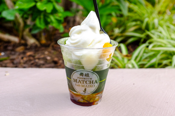 The Maiko Special with vanilla ($7.50) has both vanilla and matcha soft serve ice cream.