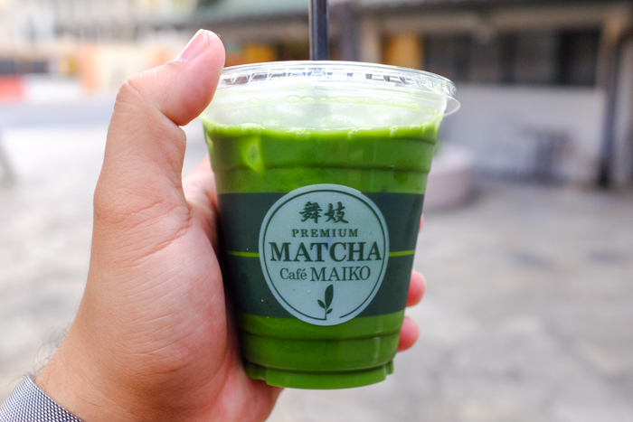 The well blended iced matcha tea is remarkably smooth and slightly sweetened.
