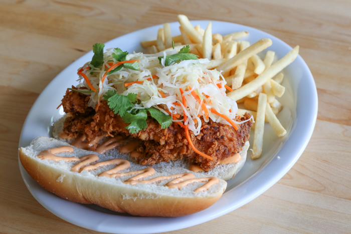 If you like savory, the fried chicken sandwich ($11) is the meal for you. The breading reminds me of a fried oyster you'd get in a po'boy in New Orleans; crispy, seasoned and a little bit of heat.