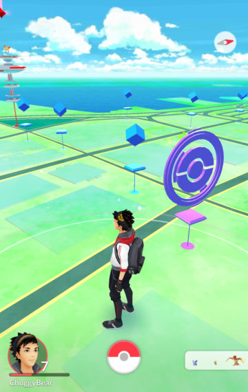 Those blue cubes are PokeStops. Once you get your items from one, it will turn purple like the one in the foreground. After a few minutes, you're able to get items from the same PokeStop.