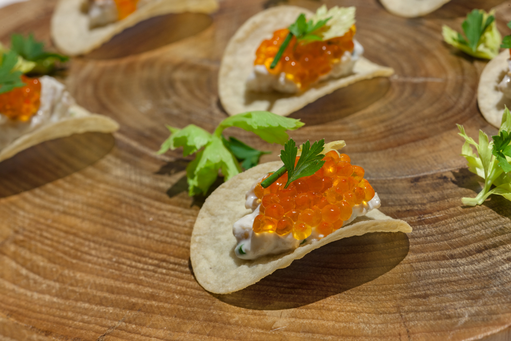 FORTY CARROTS at BLOOMINGDALE'S: Caviar Chip of sake-marinated ikura, little neck clam dip, potato chip