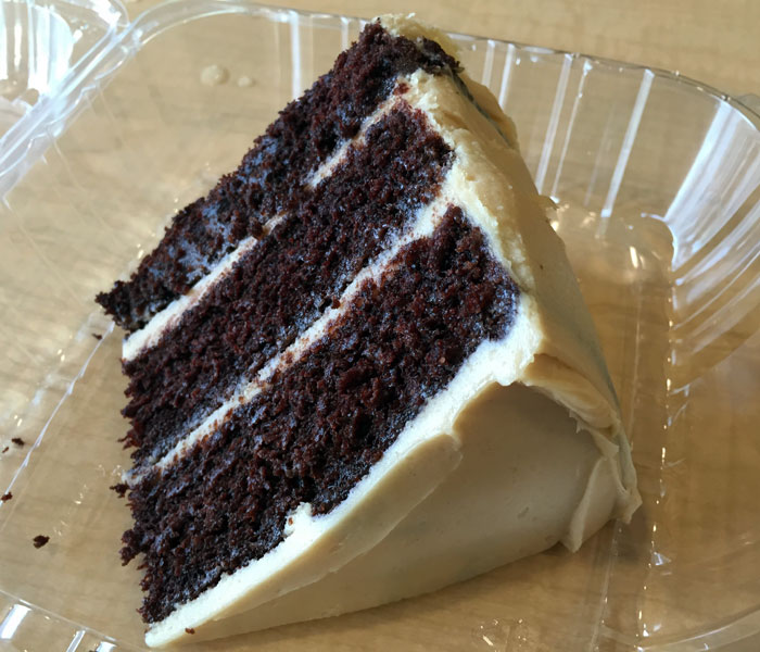 The chocolate cake with peanut butter frosting ($5.50) is moist and sinfully rich, featuring the perfect harmony of both flavors.