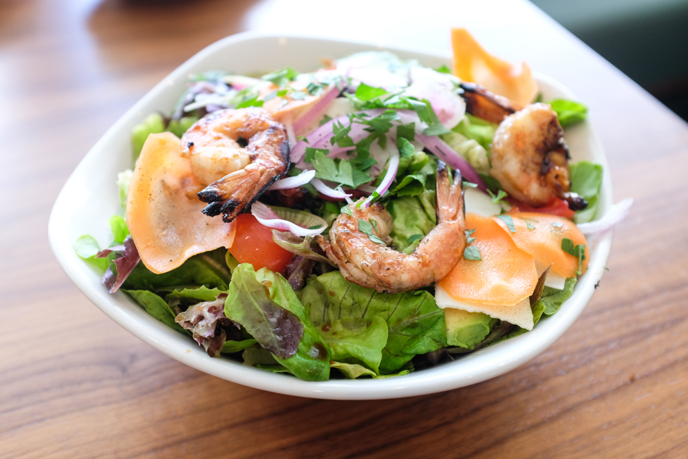 The grilled Kauai shrimp salad ($28) was a winner with black truffle dressing. Kauai shrimp are small, but I counted seven shrimp and a whole lot of fresh Nalo lettuce in the bowl.