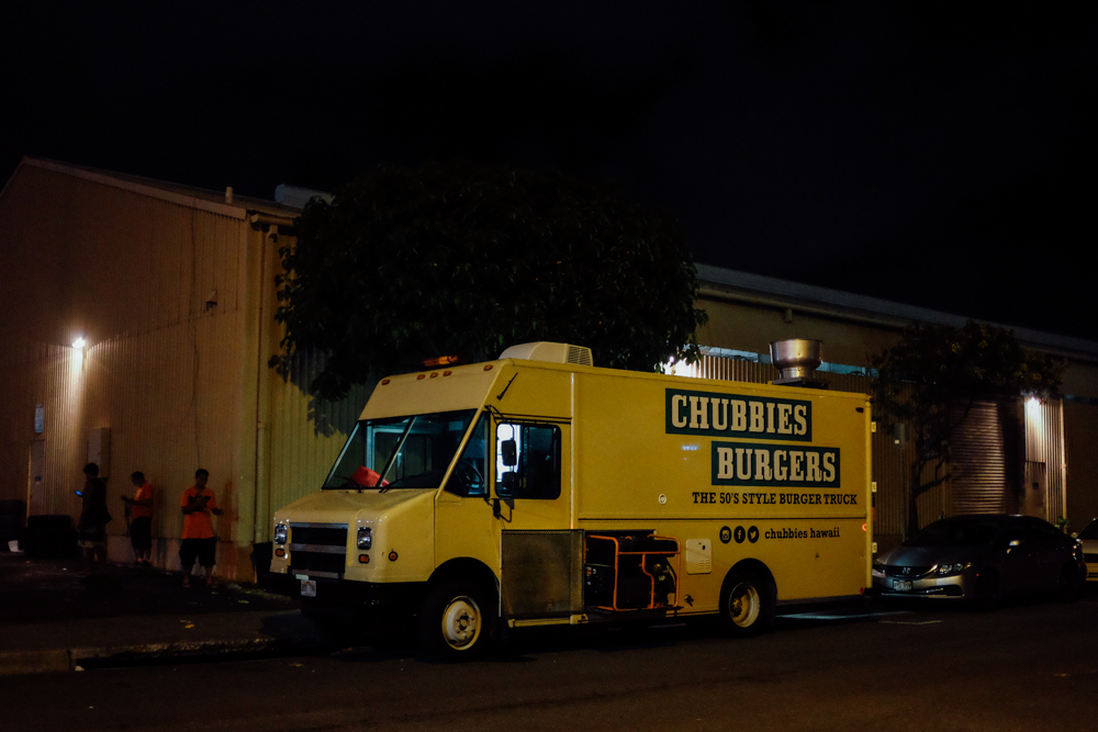 Chubbies Burgers sets up on the corner of Auahi and Coral Streets around 6 p.m. and service lasts until 10 p.m. or until they sell out.