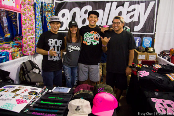 One of the hardest-hit booths Friday was the crew from 808allday, who released an exclusive limited-edition, one day only t-shirt and hat pack.