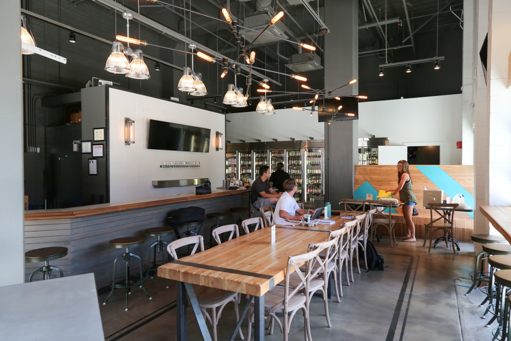 There is a communal table for groups or for meeting new beer lovers.
