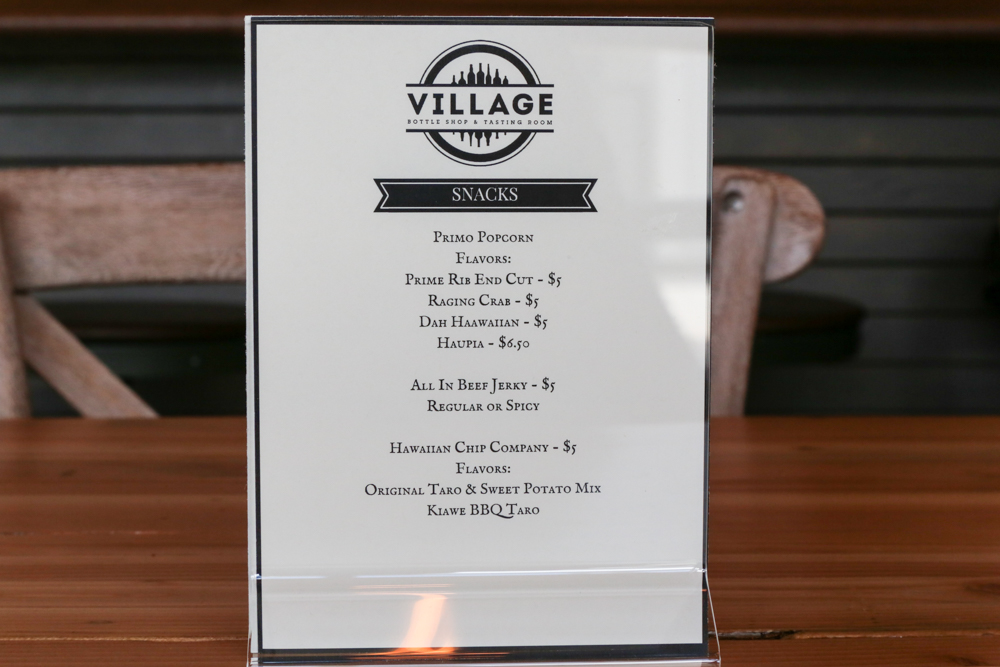 The food menu features local producers, Primo Popcorn, All In Beef Jerky, Hawaiian Chip Company and HI Pies.