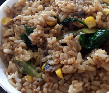 Mama's Fried Rice features corn, asparagus, mushrooms, spinach and eggs.