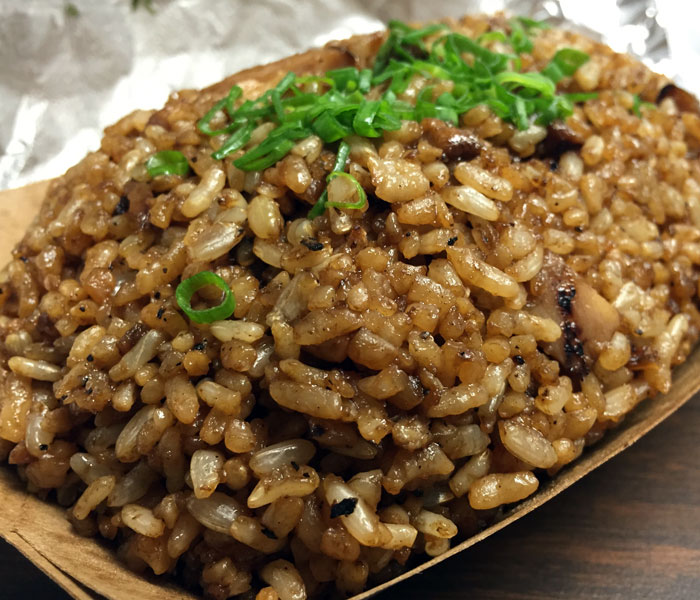 The smoked pork fried rice is sold by the bowl (a la carte) or you can have it as part of your plate lunch.