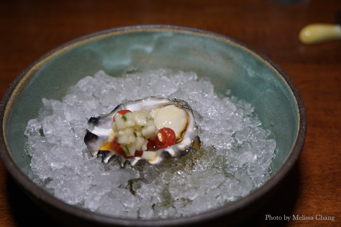 To start: a simple Kumamoto oyster with watermelon pearls and cucumber mignonette.