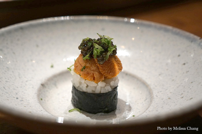 Hokkaido sea urchin topped with Black River caviar. Need I say more?