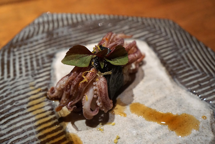 Wild Maine spring squid (what?) with red yuzu kosho ponzu, ginger juice, and micro shiso. So tender!