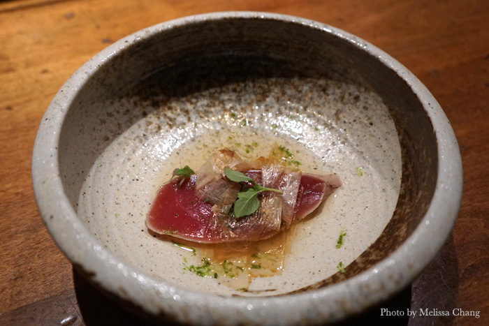Maguro tosazu with katsuobushi, chive, lime, spruce shoot, and micro shiso.