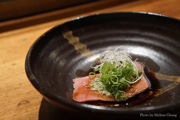 "Bluefin toro with wasabi oil and ""lots of green onion."""