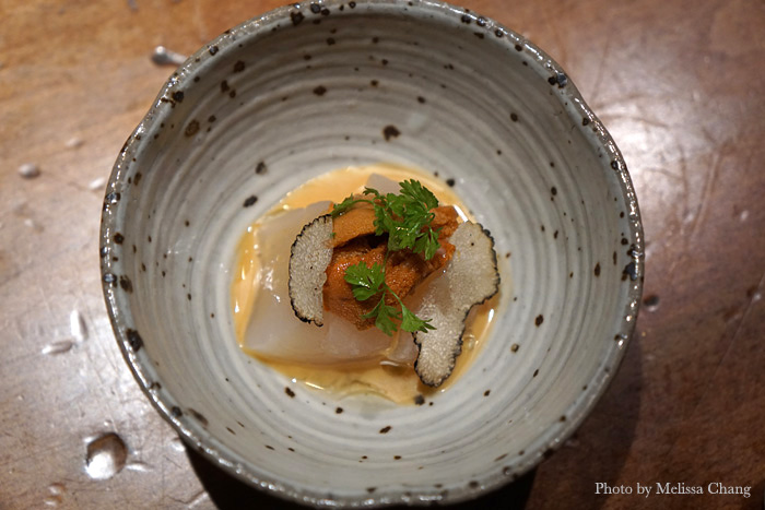 Hokkaido scallop with summer black truffle, sake sea urchin jus, and chervil. This melted in my mouth!