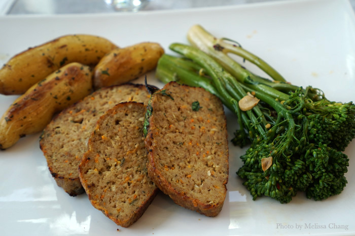 Dinner possibilities: Turkey meatloaf, potatoes and broccolini from the Dean & Deluca deli case.