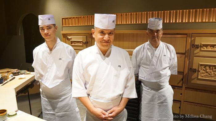 Chef Keiji Nakazawa, center, flanked by Yasushi Zenda, left, and Taku Sato.