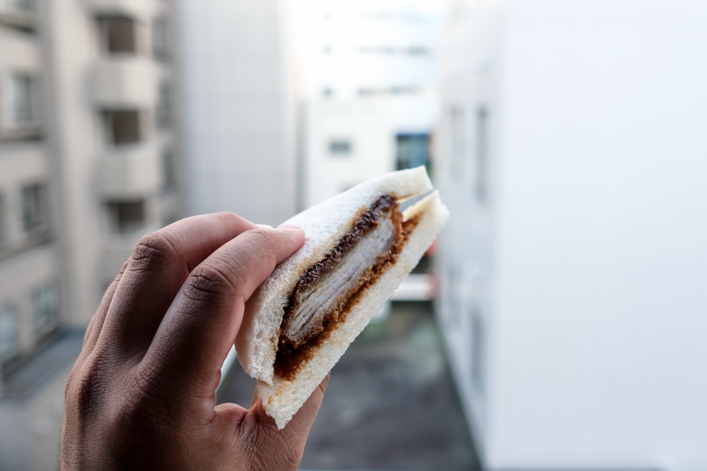 How could you resist a perfectly packaged tonkatsu sando triangle (¥350/$3.50)?