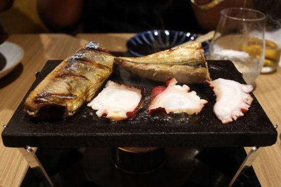 Seafood Iburi on the grill.