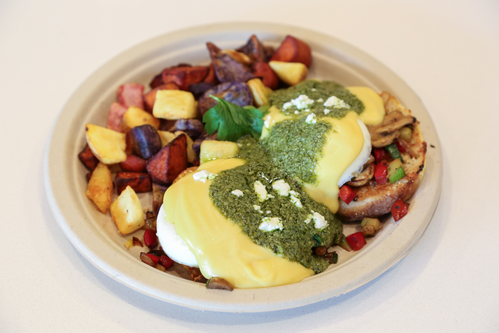 The menu boasts three benedict dishes including this pesto benedict ($11). The potato medley was actually a nice surprise, providing a hit of sweetness to balance the herbaceous pesto.