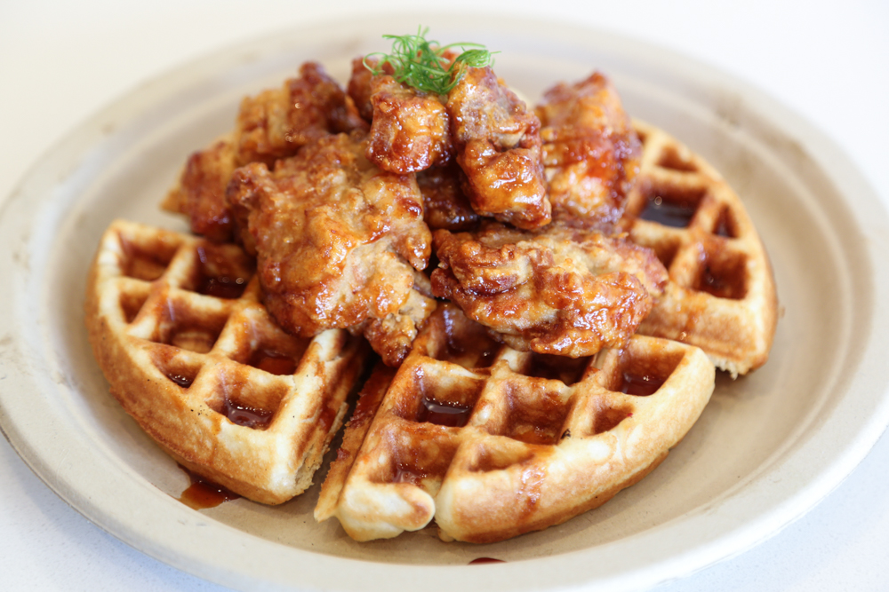 The Korean fried chicken and waffles ($10) is a sticky, sweet and savory concoction hit the spot.